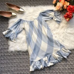 Tularosa Sara Blue & White Off Shoulder Dress NWOT